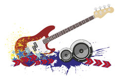 Electric guitar with strings. Stock Photo