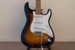 Electric guitar with sunburst color. Electric guitar stratocaster model popular stock photo