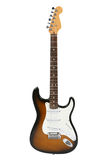 Electric Guitar (Sunburst Fender Stratocaster). Logo removed, isolated on white, clipping path included Royalty Free Stock Photo