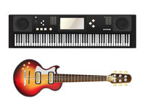 Electric guitar and synthesizer Royalty Free Stock Image