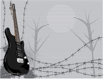 Electric guitar and thorns Royalty Free Stock Photography
