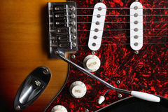 Electric guitar top view Stock Images