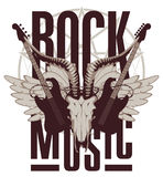 Electric guitar, wings and goat skull. Emblem with an electric guitar, wings and goat skull Stock Photography