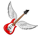 Electric guitar with wings. Vintage label, illustration, logotype. Vector illustration Royalty Free Stock Photos