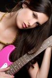 Electric Guitar Woman Royalty Free Stock Photos