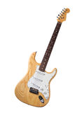 Electric Guitar Wood Finish. Electric guitar with clear wood finish separated on white background Royalty Free Stock Photography