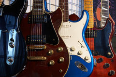 Electric guitars. Close-up of electric guitars in a music shop Royalty Free Stock Photo