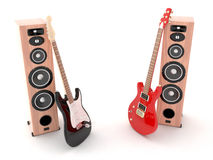 Electric guitars. And speakers. Rendered with Vray 1.50 SP2 Royalty Free Stock Photography