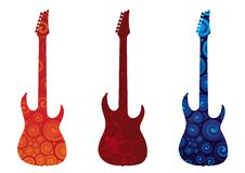 Electric Guitars. Three electric guitars silhouettes. Vector illustration Stock Image