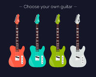 Electric Guitars of different colors set. Vector guitars. Choose your own guitar. Electric Guitars of different colors set Royalty Free Stock Images