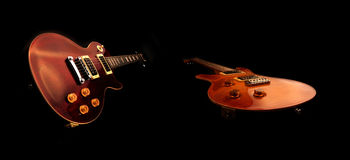 Electric guitars isolated. On the black background Royalty Free Stock Photos