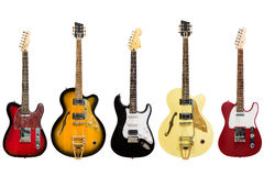 Electric guitars isolated on white background Stock Photos