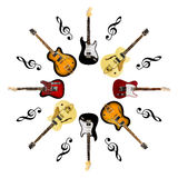 Electric guitars isolated on white background Stock Image