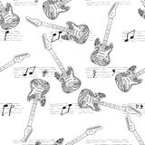 Electric guitars pattern with notes hand drawn. On white. Seamless Royalty Free Stock Photos
