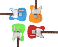 Electric guitars in prime colors. On white background Royalty Free Stock Images