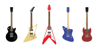 Electric guitars set of s. Colored electric guitars set of s Royalty Free Stock Photos