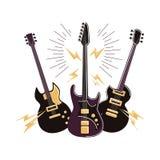 electric guitars set. Stock Photos