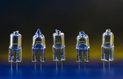 Electric halogen bulbs standing in a row 1. Halogen light bulbs standing in a row on the gradient (black-yellow-blue) background, there is some colorful Royalty Free Stock Images