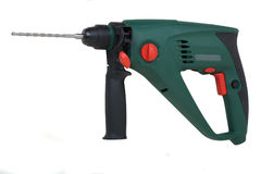 Electric hammer. With bit, green plastic body, isolated with clipping path Royalty Free Stock Photos