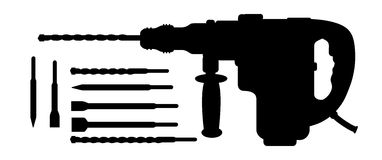 Electric hammer drill and bits silhouettes Royalty Free Stock Photo
