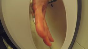 Electric Hand Dryer At Work With Male Hands stock video footage