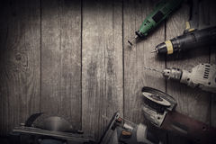 Electric hand tools (screwdriver Drill Saw jigsaw jointer) top v Royalty Free Stock Photography