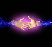 Electric handshake Royalty Free Stock Photos