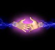 Electric handshake Royalty Free Stock Photos