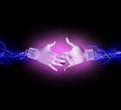 Electric handshake Stock Images