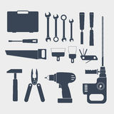 Electric and handy tools. Electric and handy tool sillhouettes royalty free illustration