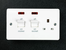 Electric Hard Wired Cooker Socket. Against a Black Background royalty free stock image
