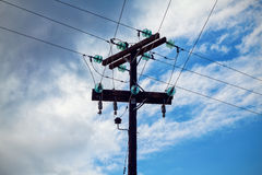 Electric high voltage pole Stock Photos