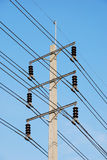 Electric high voltage post. With sky background Royalty Free Stock Image