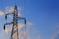 Electric high voltage post with sky background. Electric high voltage post with blue sky Royalty Free Stock Photos
