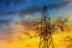 Electric high voltage power post Royalty Free Stock Photo