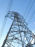 Electric high voltage power post Royalty Free Stock Images