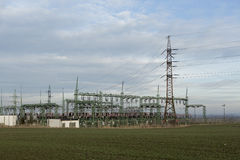 Electric high voltage power post Stock Photos