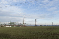 Electric high voltage power post Stock Image