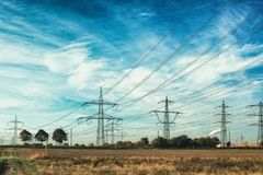 Electric high voltage power post mannheim sky cloud many blue meadow stock image