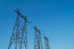 Electric High Voltage Power Post Stock Photo