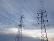 Electric High Voltage Tower. In Evening Royalty Free Stock Images