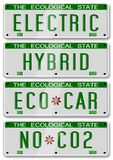 Electric hybrid car plates Royalty Free Stock Image