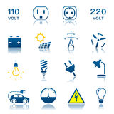 Electric icon set Stock Images