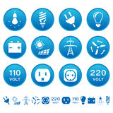 Electric icons. Electrical symbols on round buttons Stock Image