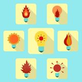 Electric icons set in a flat style. Royalty Free Stock Image