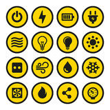 Electric Icons Set. Yellow Signs. Vector Royalty Free Stock Image