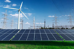 Electric industrial. Power station, windmill and solar panels Stock Photo