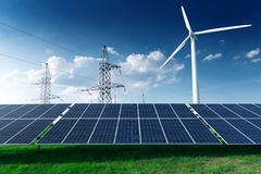 Electric industrial. Power station, windmill and solar panels Stock Photography