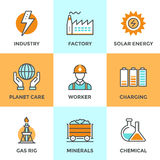 Electric industry line icons set Royalty Free Stock Photography