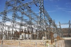 Electric Infrastructure. High-Voltage Electric Station. Industrial Photo Collection Stock Image